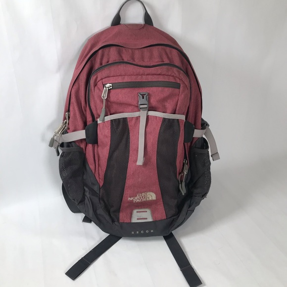 North Face Recon Red Laptop Hiking Backpack Bag